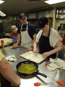 Photo of Trainees making Spanakopita