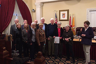 Photo of St. Augustine Compassion Community Team acknowledging the City's Proclamation of making February a month of Compassion and Forgiveness.