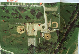 Photo of An example of one of the soil sampling maps. This one shows the Montpelier baseball fields, formerly the site of National Window and Bent Glass Company.
