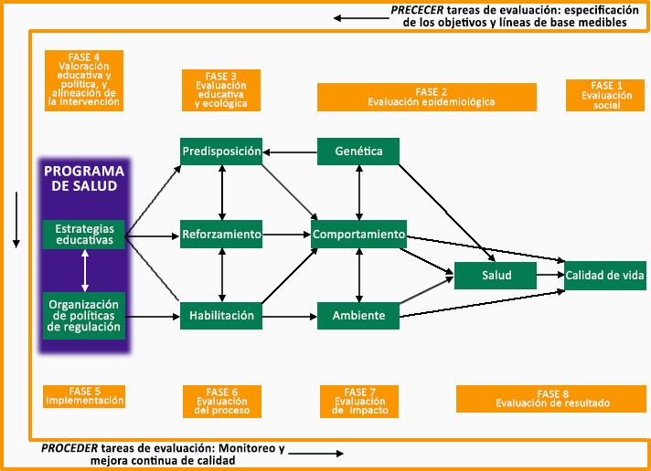 """Imagen  de la figura 1.  Representación genérica del Modelo PRECEDER-PROCEDER de L. Green y M.Kreuter. (2005). Planificación de promoción de la salud: Un enfoque educativo y ambiental (4a Ed.). Mountain View, CA: Mayfield Publishers. Esta imagen incluye cuadros  con textos y flechas asociativas con las siguientes frases: """"PRECEDER tareas de evolución: objetivos específicos medibles y línea de bases (encabezado) FASE 4- factores administrativos y normativos que influencian lo que puede ser implementado; (encabezado) FASE 3- Evaluación educativa y ecológica; (encabezado) FASE 2- Evaluación epidemiológica; (encabezado) FASE 1- Evaluación social y PROGRAMA DE SALUD-estrategias en educación; organización políticas de regulación, predisponentes de genética; refuerzo; comportamiento; habilitar; medio ambiente; calidad de vida; (encabezado) FASE 5- implementación; (encabezado) FASE 6- evaluación del proceso; (encabezado) FASE 7- evaluación del impacto; (encabezado) FASE 8- evaluación del resultado tareas de evaluación PROCEDER: seguimiento, y mejora continua de calidad."""""""