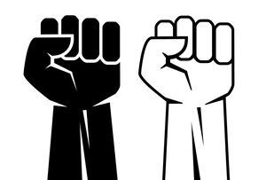 Black-and-white illustration of two fists, one black, one white.