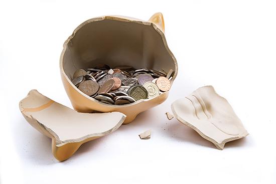 Image of a broken piggy bank.