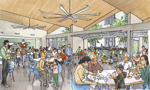 A rendering of the new Ping Yuen Community Center to be built for a complex comprising 234 units, which to date has had no public gathering space for residents. A capital campaign is underway to fund the center's construction.
