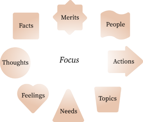 Focus chart, with Merits, People, Actions, Topics, Needs, Feelings, Thoughts, and Facts.