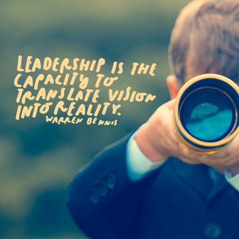 Image of boy with telescope and the quote: Leadership is the capacity to translate vision into reality. - Warren Bennis