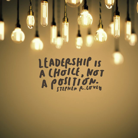 Image of hanging light bulbs with the quote: Leadership is a choice, not a position. - Stephen R. Covey
