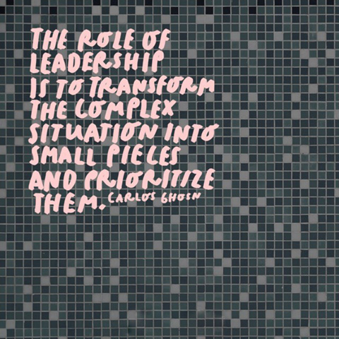 Image of a tiled floor with the quote: The role of leadership is to transform the complex situation into small pieces and prioritize them.