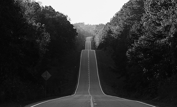 Black-and-white photo of a long, hilly road with tall trees on either side.