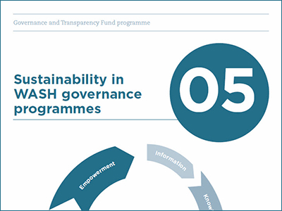Cover of Sustainability in WASH governance programmes guide.