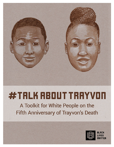 """Cover of booklet with the title """"Talk About Trayvon."""""""