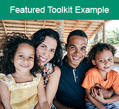 """Hispanic family with the text """"Featured Toolkit Example"""" above it."""