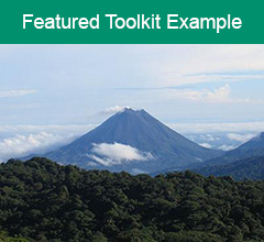 """A mountain in Costa Rica with the text """"Featured Toolkit Example"""" at the top."""