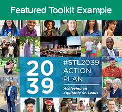 """Cover of the action plan with the text """"Featured Toolkit Example"""" at the top."""