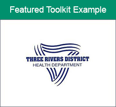 """Three Rivers District Health Department logo with the text """"Featured Toolkit Example"""" at the top."""