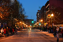 Image of downtown Lowell, MA, at night.