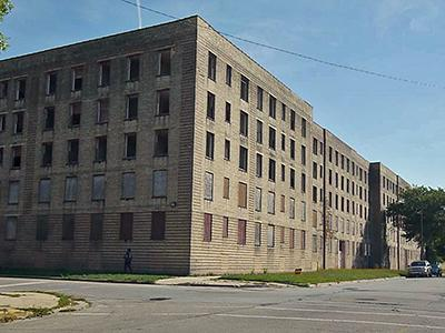 Image of low-income housing building in Chicago.