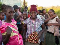 Photo of girls participating in the sanitary towels & undergarments program