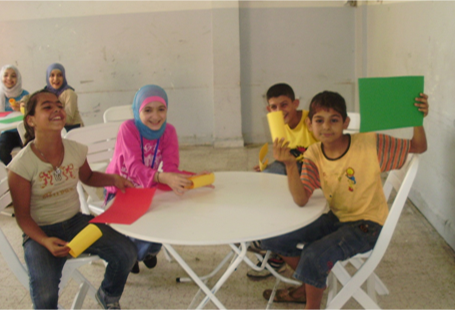 Image of children around a table in classroom